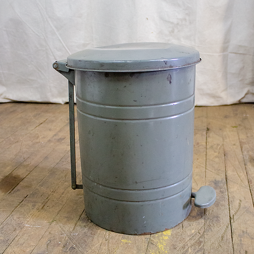 Grey Metal Trash Can with Lid