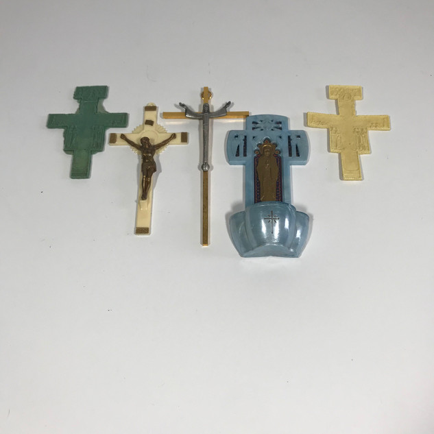 Holy water holder and crosses