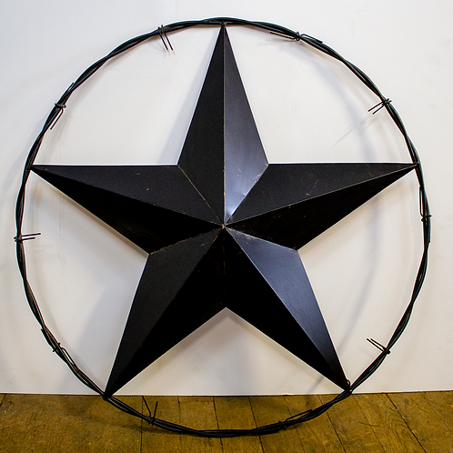 Black Barbed Wire Metal Star