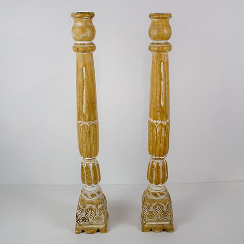 Tall Wooden Candlesticks