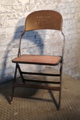 Brown Chicago Park District Folding Chair