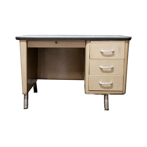 Single Pedestal Beige Tanker Desk