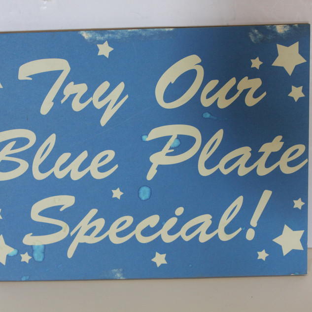 Try our Blue Plate Special! Blue Sign with stars