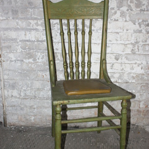 1 in stock  Light green wooden armless chair with attached cushion