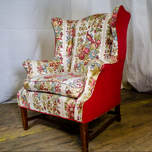 Red Floral Armchair