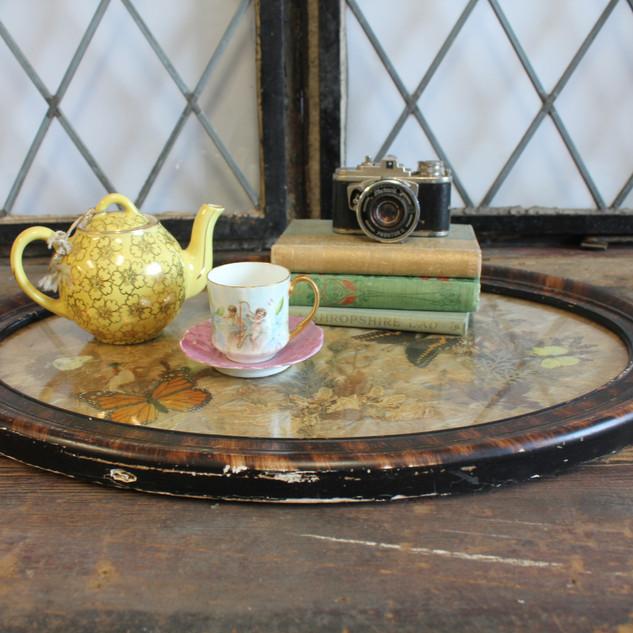 Tea pot, tea cup, butterfly platter