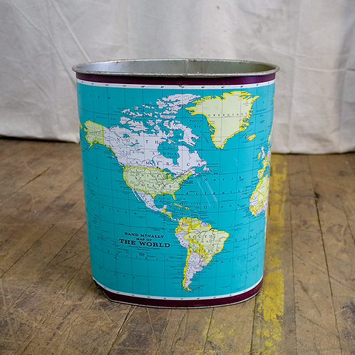 World Map Metal Trash Can