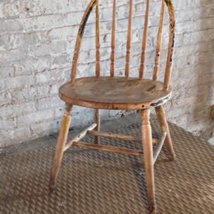 1 in stock  Arch back, armless, wooden, weathered, dining room, kitchen chair