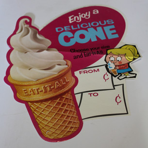 Enjoy a delicious cone, ice cream cone sign