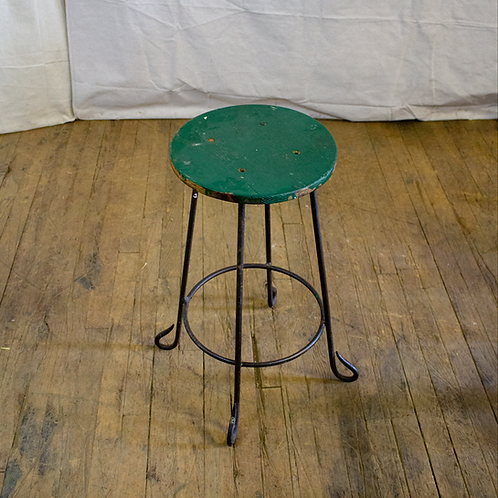 Green Wooden Seat Stool with Black Metal Legs