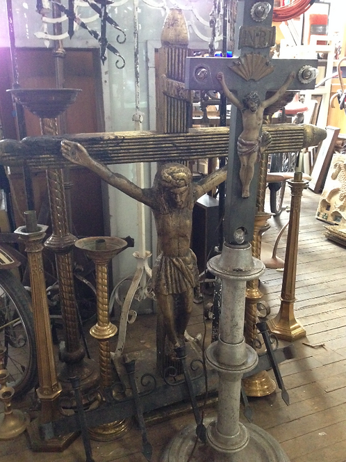Religious Crucifix Statues and Candle Holders