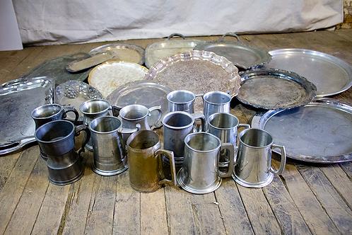 Silver Trays and Mugs