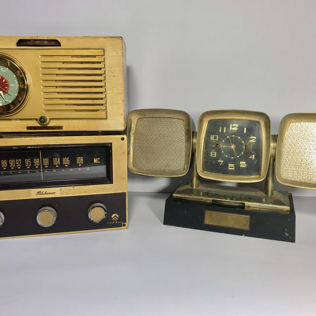 Gold with teal face (top left) Pilotuner (bottom left) Philco (right) Radio