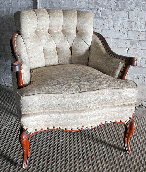 White Tufted Armchair
