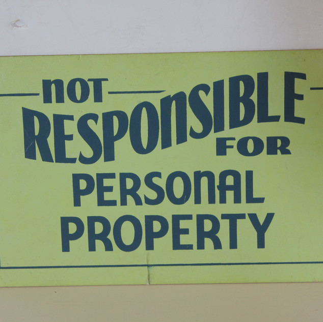 Not Responsible for Personal Property sign