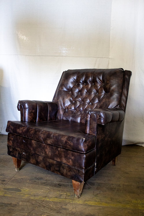Brown Leather Tufted Armchair
