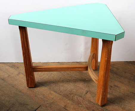 Teal and Wood Corner Side Table