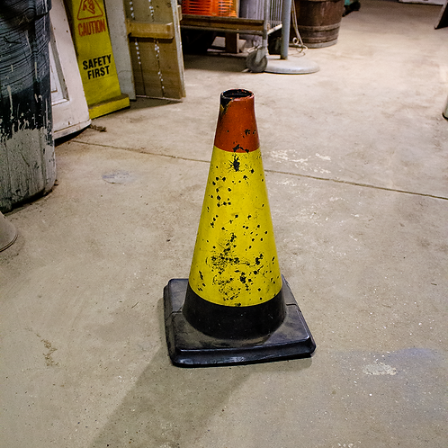 Yellow and Black Traffic Cone