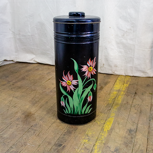 Black Floral Trash Can with Lid