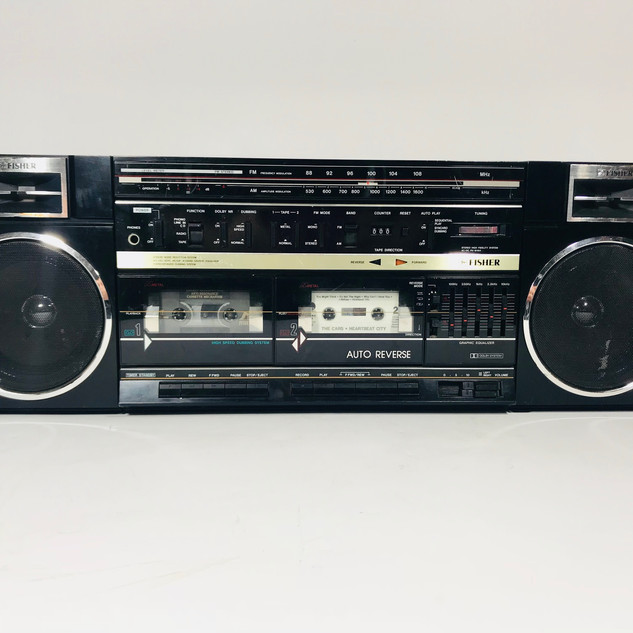 Fisher double cassette tape deck player boom box radio