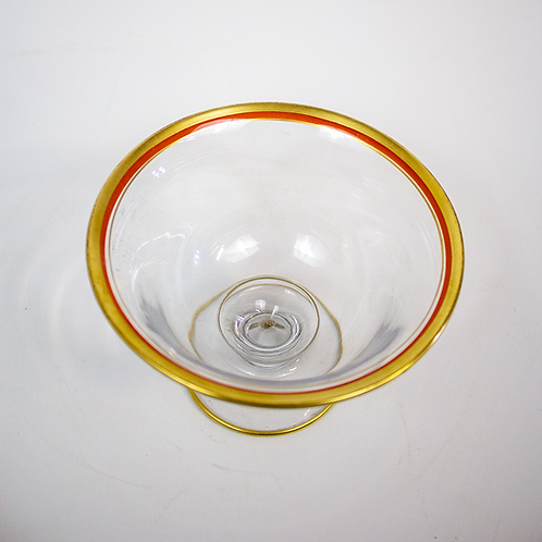 Clear Glass Bowl with Orange and Gold Rim
