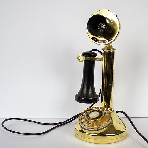 Shiny Brass Candlestick Telephone 1910s 1920s