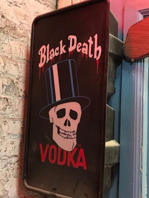 Black Death Vodka Sign