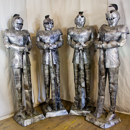 Silver Knights in Armor with Swords