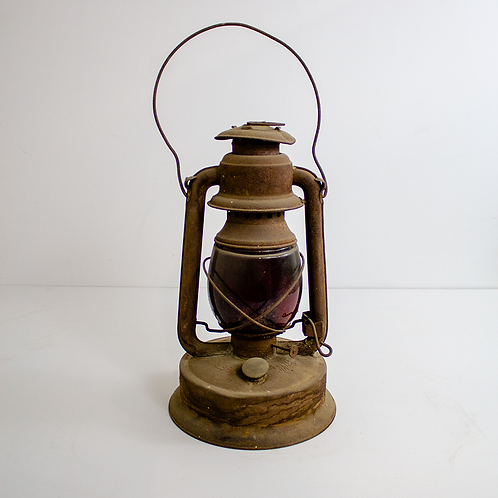 Small Railroad Oil Lantern -  Red Glass