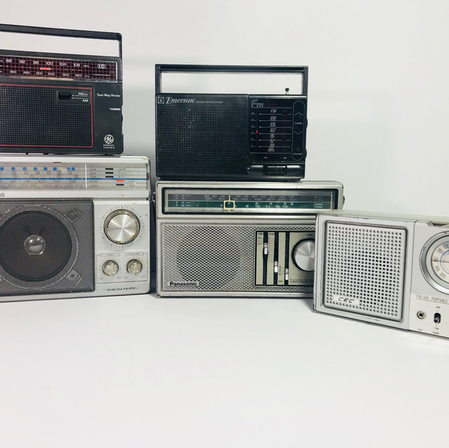 General Electric (top left) Realistic Mini Boom Box (bottom left) Emerson (top middle) Panasonic (bottom middle) CEC (right) Radios