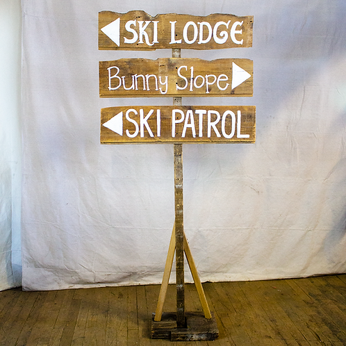 Ski Lodge, Bunny Slope, Ski Patrol wood sign with white text