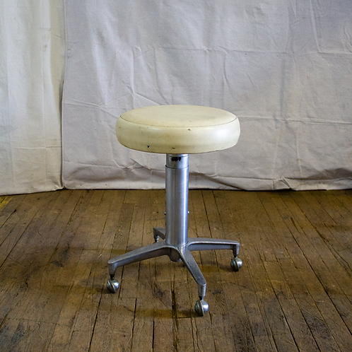 White Adjustable Low Rolling Stool
