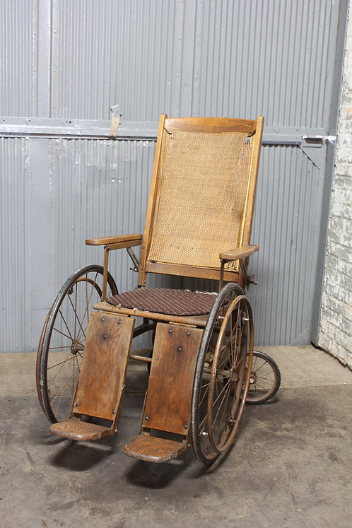 Cane Back Wooden Antique Wheel Chair