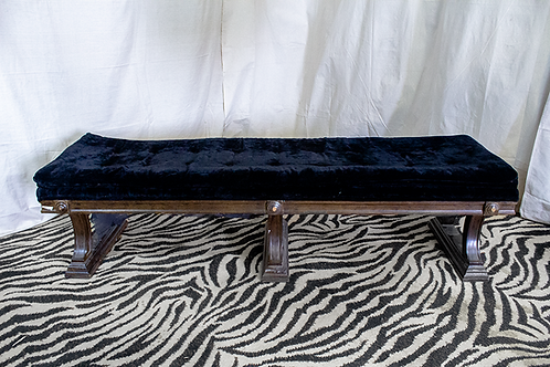 Black Velvet Cushioned Bench