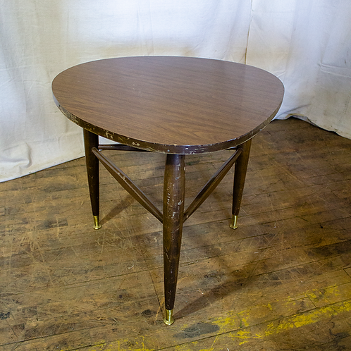 Triangular Rounded Wood Side Table