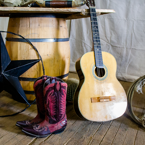 Red Cowboy Boots & Guitar