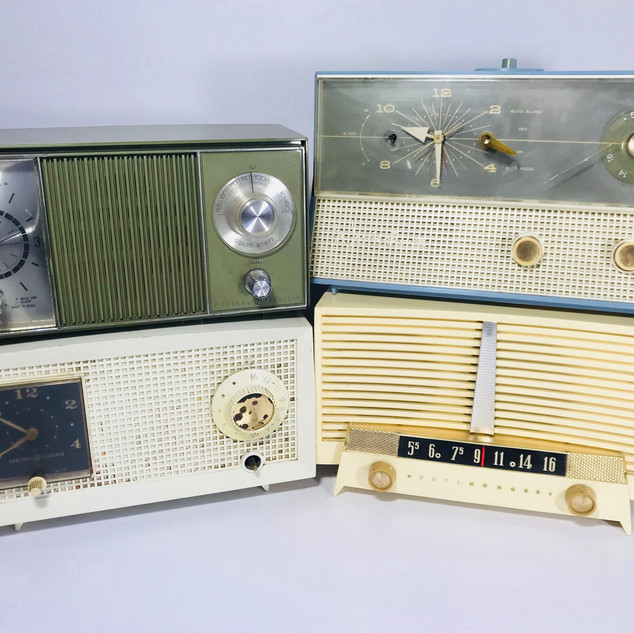 General Electric (top left) General Electric (bottom left) Westinghouse (top right) Westinghouse (bottom right) radio
