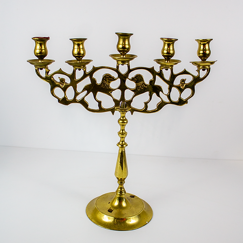 Five Light Brass Candelabra