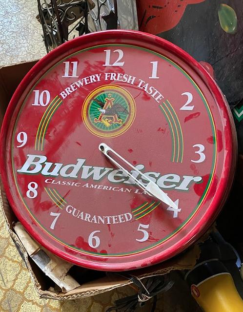Red Budweiser Light Up Clock