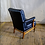 Thumbnail: Black Leather and Wood Armchair