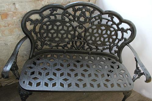 Wrought Iron Garden Bench Black