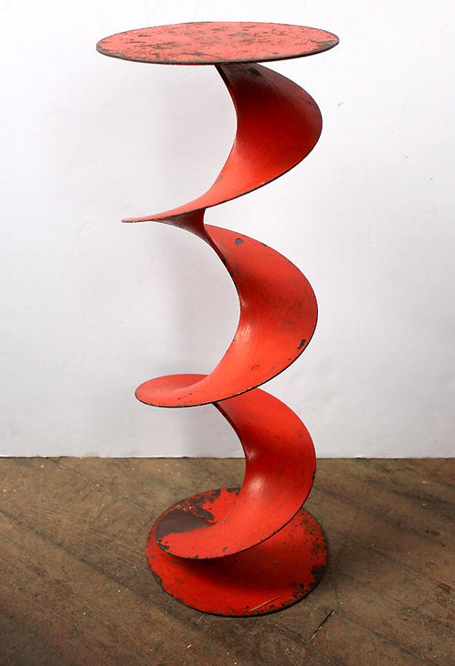 Red Metal Spiral Side Table