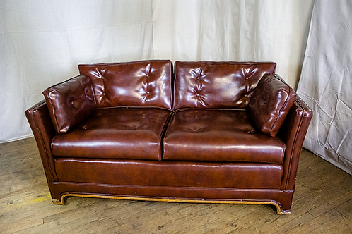 Brown Rectangular Leather Couch