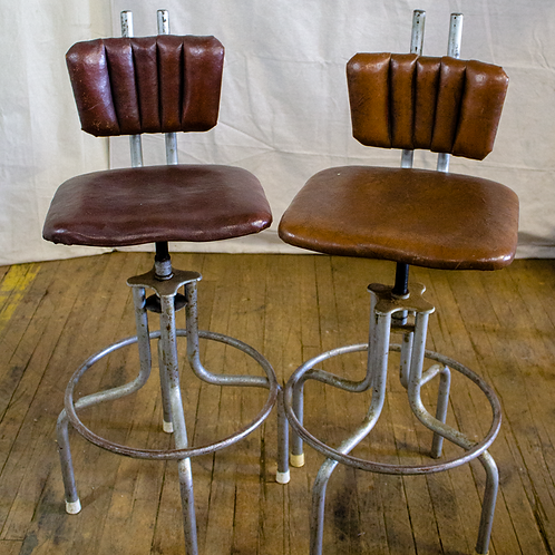 Brown Leather Industrial Stools