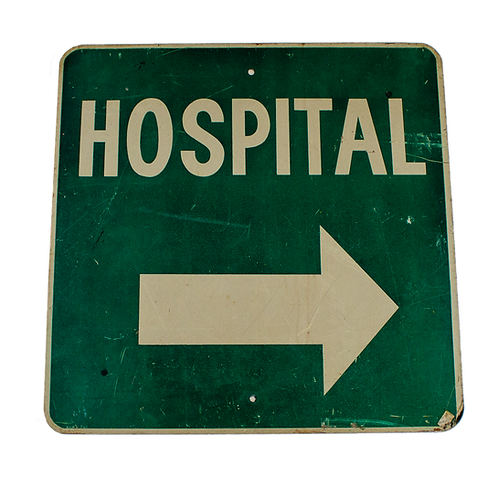 Hospital Outdoor Street Sign