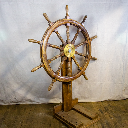 Large Ship Wheel on Stand