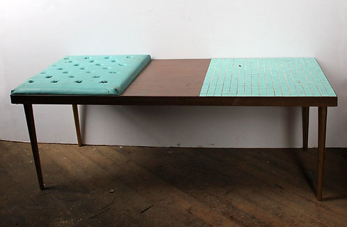 Dark Wood and Teal Low Table