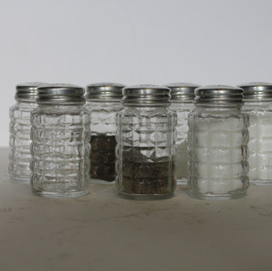 Salt and Pepper shakers with quilted texture