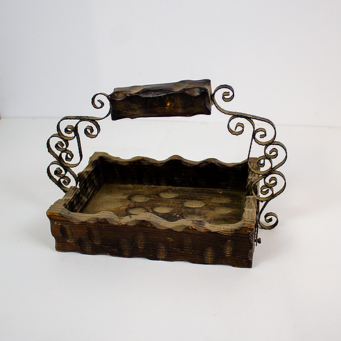 Rustic Wood Box with Gothic Handle