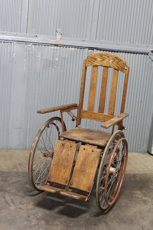 Open Back Antique Wood Grain Wheel Chair